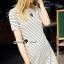 Seoul Secret Say's... Stripy Knit Chic Dress สีขาว thumbnail 1